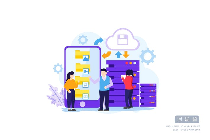 Thumbnail for Back Up Data - Ilustration Template