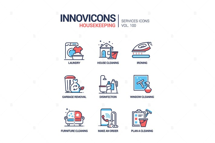 Thumbnail for Housekeeping services - line design style icons