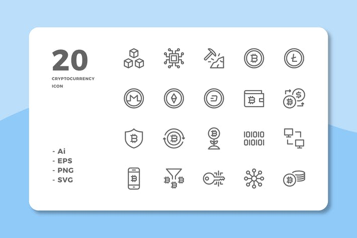 Thumbnail for 20 Cryptocurrency Icons (Line)