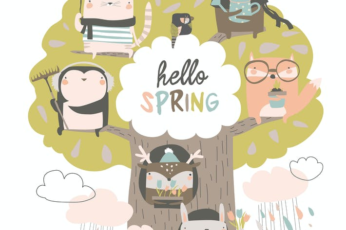 Thumbnail for Cute animals sit on spring tree on white backgroun