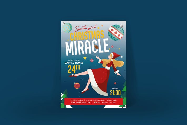 Thumbnail for Christmas Miracle Party Poster Illustrator