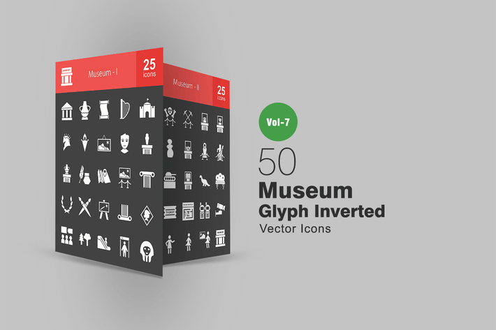 50 Museum Glyphe Inverted Icons