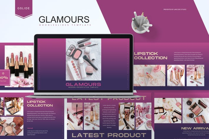 Thumbnail for Glamours - Cosmetic Google Slides Template