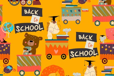 Happy Cartoon Animals riding to the School