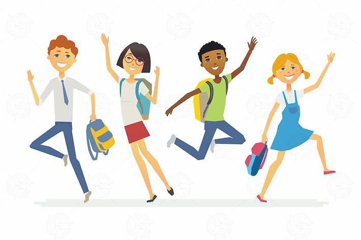 Thumbnail for Happy schoolchildren - vector illustration