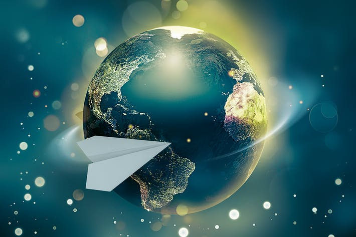 Thumbnail for paper airplane flies around the world