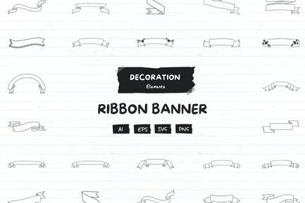 20+ Decorative ribbon and banner elements pack