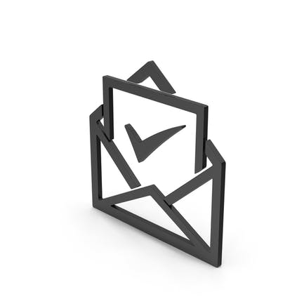 Symbol Envelope With Check Mark Black