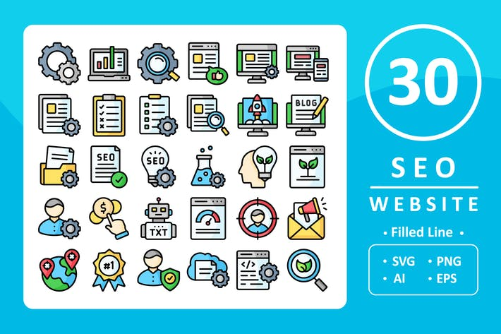Thumbnail for 30 Seo & Website Icons - Filled Line