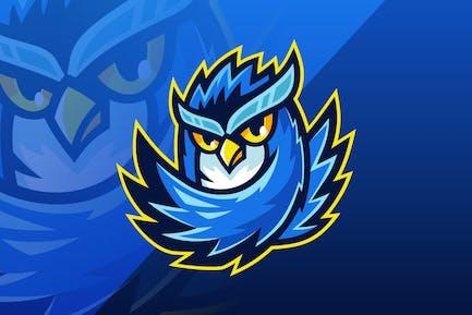 Blue Owl Sport Team Cartoon Mascot