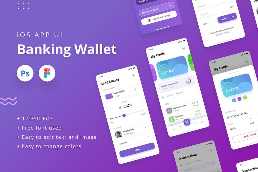 Banking Wallet iOS App UI PSD & Figma