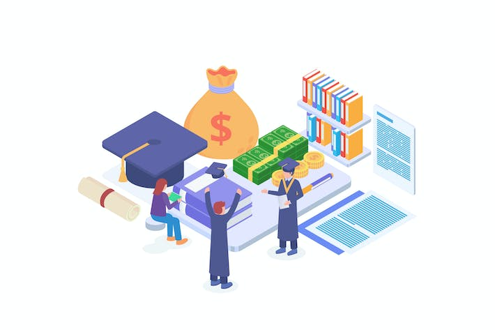 Thumbnail for Education Fund Isometric Vector Illustration
