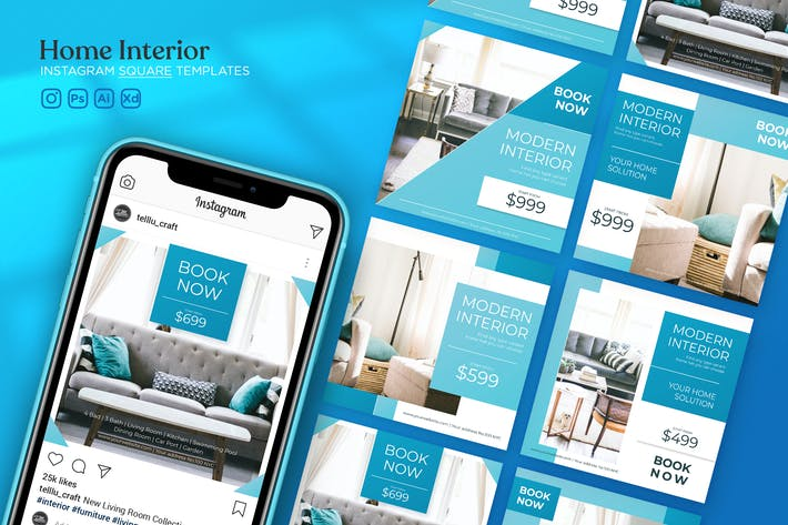 Instagram Square Templates Vol.15 Home Interior