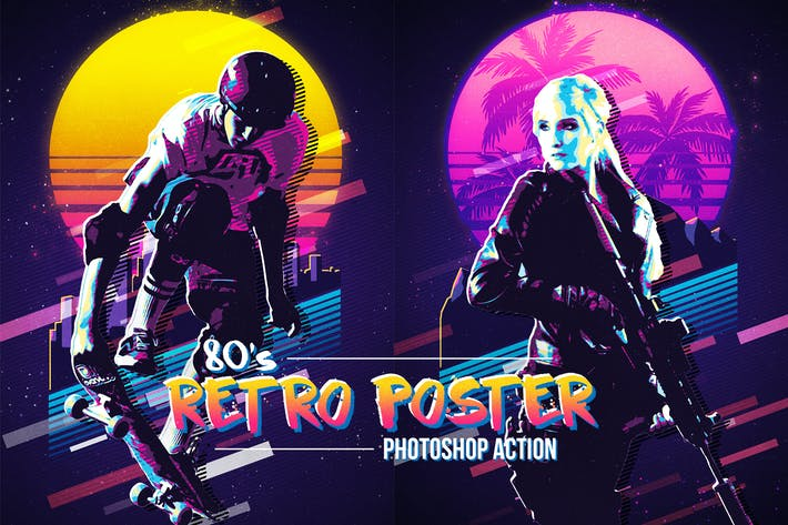 Thumbnail for 80's Retro Poster Photoshop Action