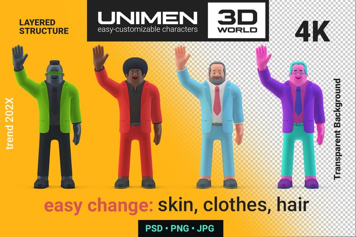 Thumbnail for Businessman standing Welcome Hi Hello pose 3D man