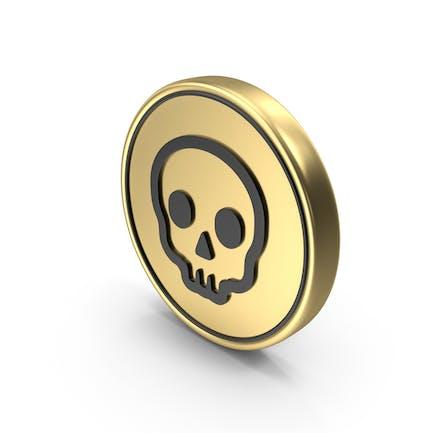 Cráneo Moneda Peligro Logo Icono
