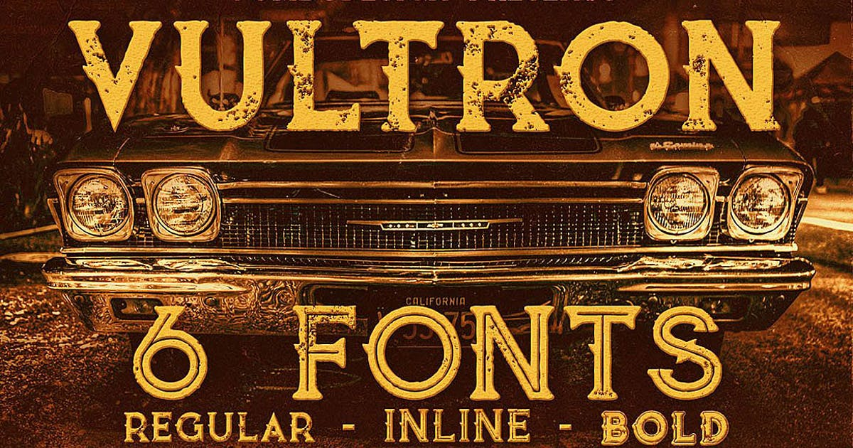 Download Vultron - Vintage Style Font by cruzine