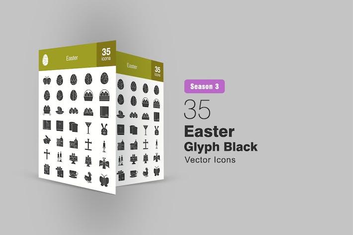 35 Easter Glyph Icons Season III
