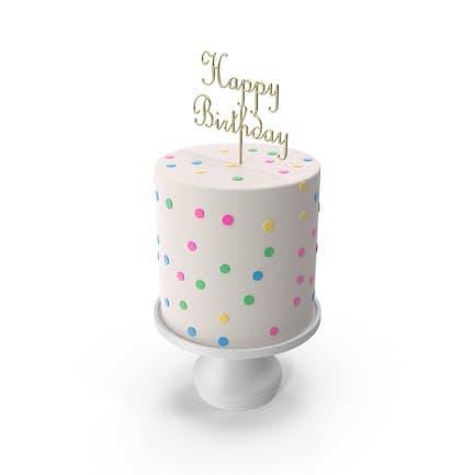 Kuchen mit goldenem Happy Birthday Top