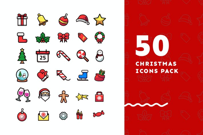 Thumbnail for 50 Flat Christmast Icons Pack