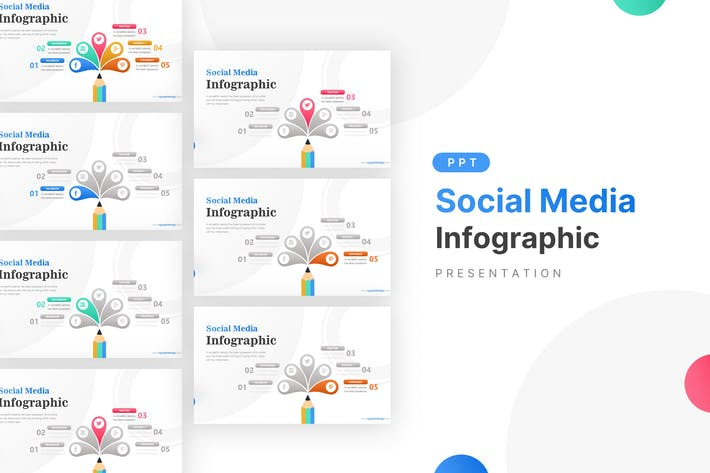 Thumbnail for Creative Pencil & Social Media Icons Infographic