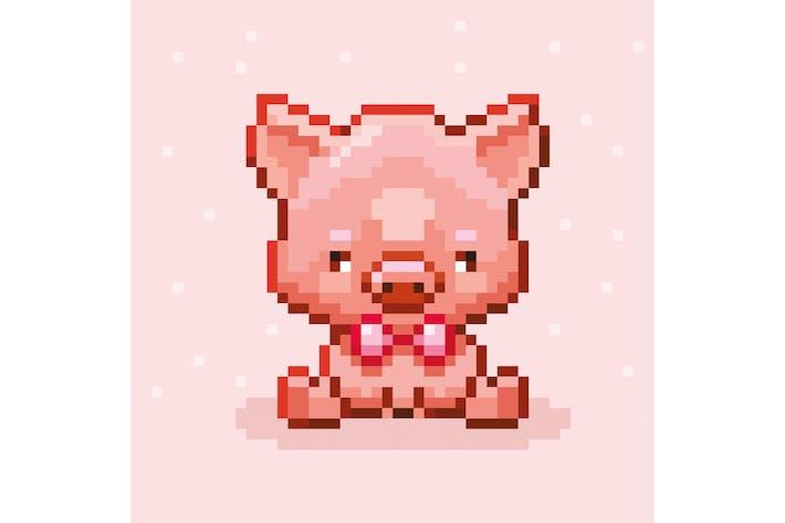 Niedliches Pixel-Schwein