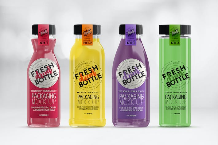 Cover Image For Bottled Juice Smoothies Packaging MockUp