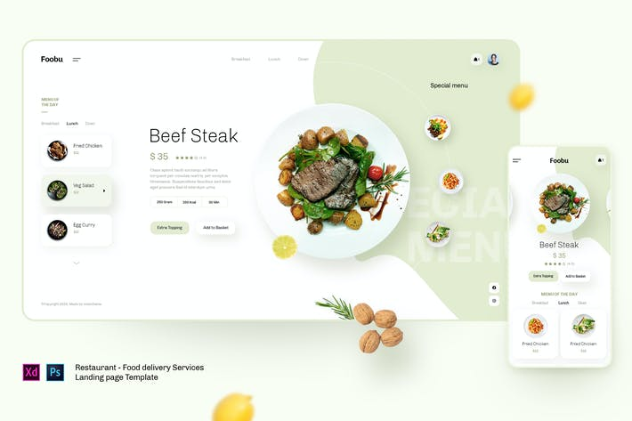 Thumbnail for Foobu - Retaurant, food delivery service template