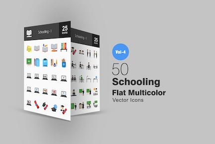 50 Schule-Flach Multicolor Icons