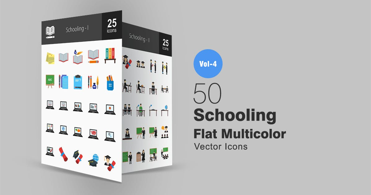 50 Schooling Flat Multicolor Icons by IconBunny