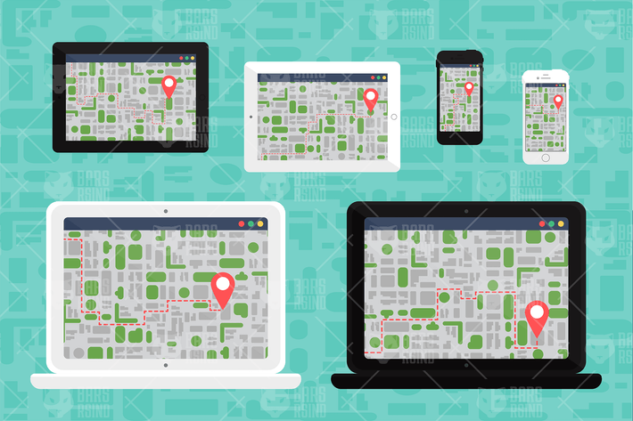 Thumbnail for Map On Devices Vector Illustration