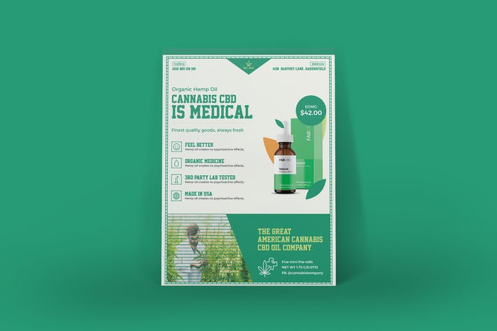 Thumbnail for Cannabis Hemp Oil Products Poster PSD Template