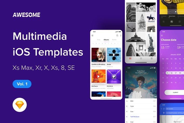 Thumbnail for Awesome iOS UI Kit - Multimedia Vol. 1 (Sketch)