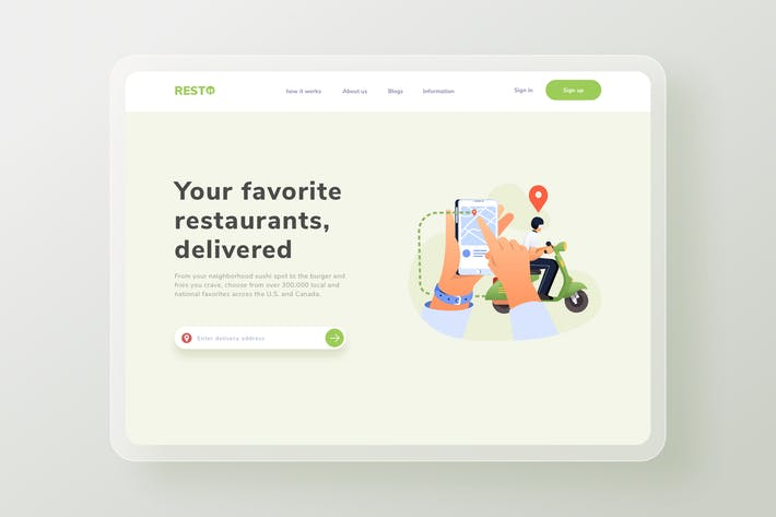 Thumbnail for Tracking food delivery Landing Page Illustration