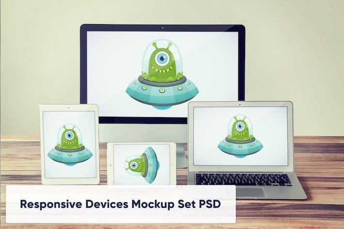 Thumbnail for Desktop, Laptop and Tablets Mockup PSD Set