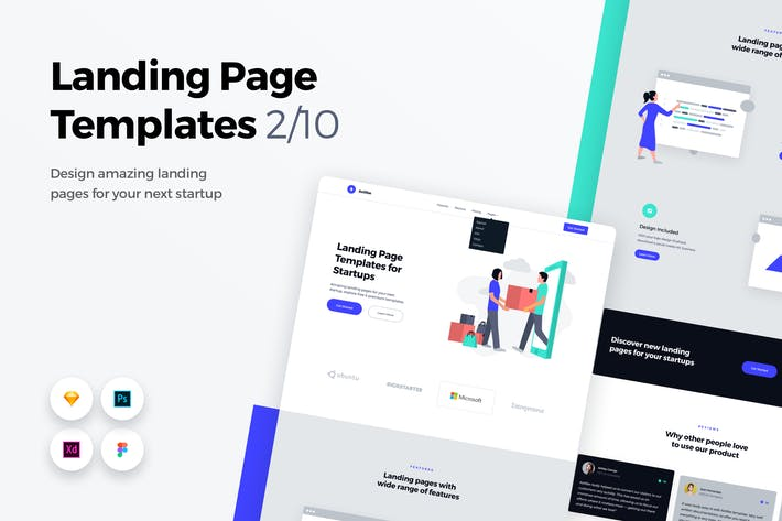 Thumbnail for Landing Page Templates - Web UI Kit - 2