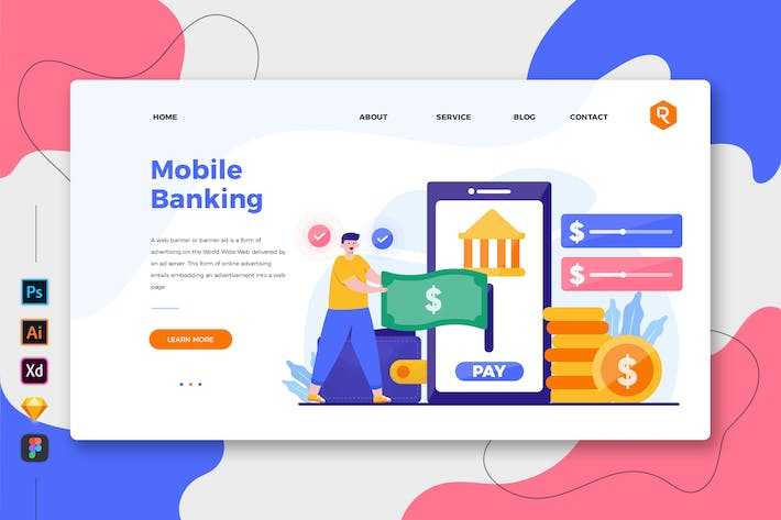 Thumbnail for Mobile Banking - Web & Mobile Landing Page