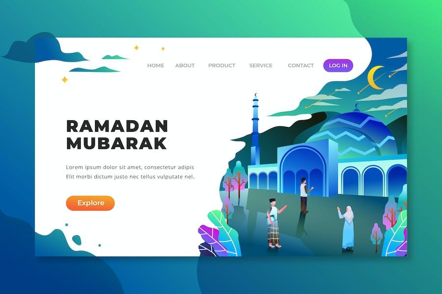 Ramadan Mubarak - PSD and AI Vector Landing Page