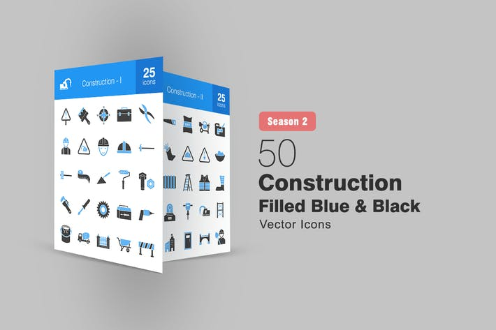 50 Construction Filled Blue & Black Icons