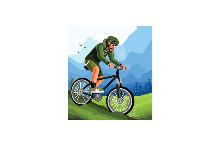 Cover Image For Cyclist on Mountain Bike Illustration