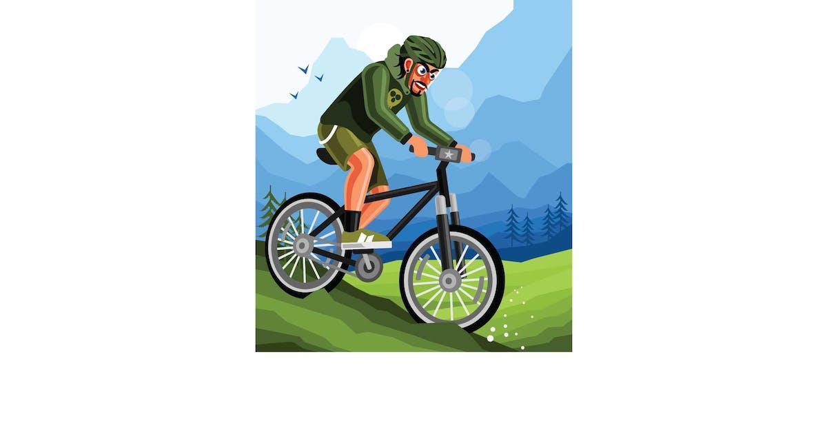 Download Cyclist on Mountain Bike Illustration by IanMikraz