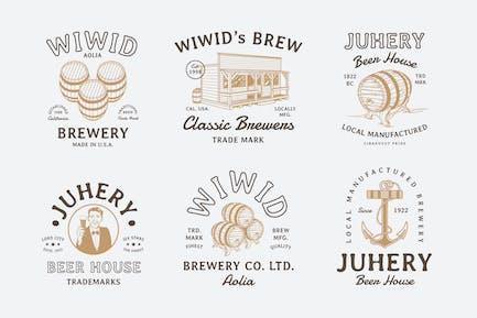 6 Vintage Beer Badges