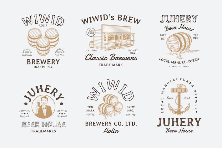 Thumbnail for 6 badges de bière vintage