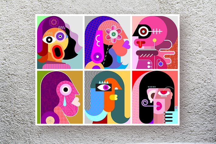 Thumbnail for Six Faces / Six Persons vector art illustration