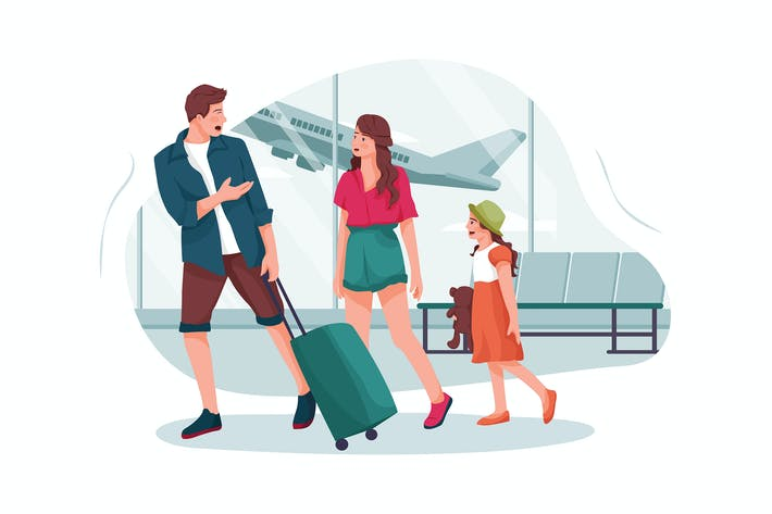 Young parents and daughter go to the airport