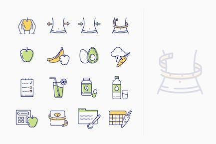 Gesunder Lebensstil - Diät-Icons - Outline Series