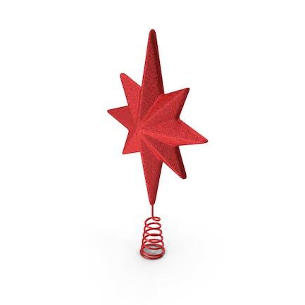 Праздничная красная звезда Рождественская елка Топпер