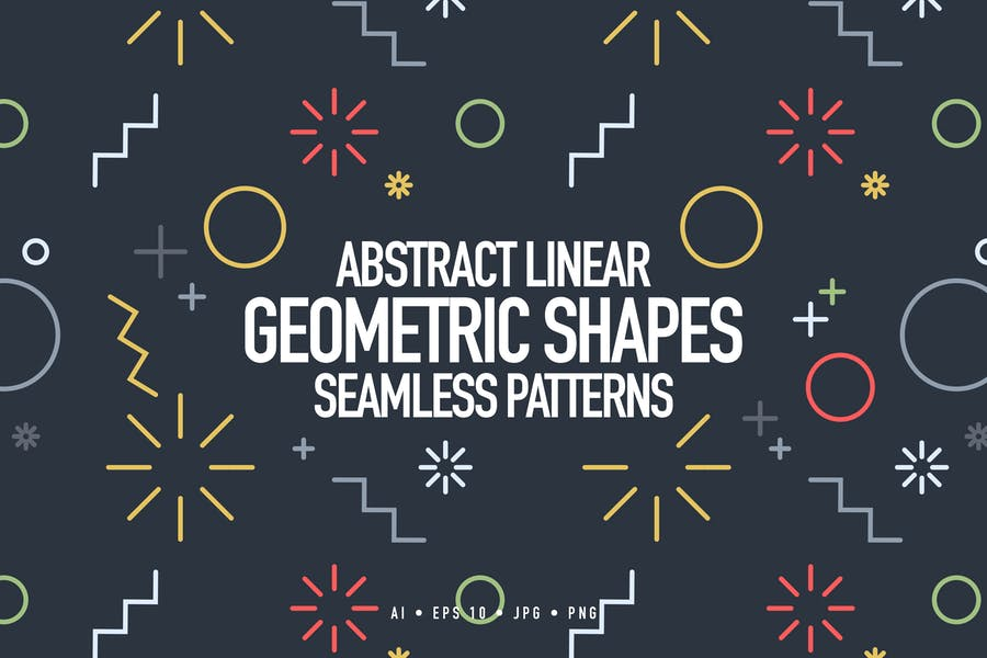 Linear Geometric Shapes Seamless Patterns