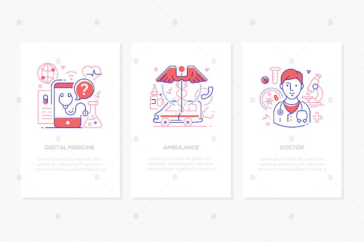 Thumbnail for Healthcare concept - line design style banners set