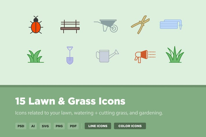 Thumbnail for 15 Lawn & Grass Icons